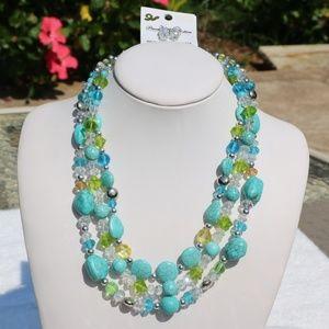 Stone & Bead Boho Statement Necklace Set Turquoise
